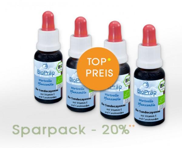 Sparpack -20%: BIO-Sandocayenne Tropfen, 4 x 20 mL.