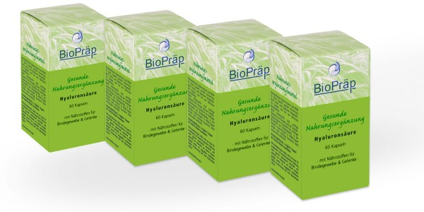Sparpack -20%: Hyaluronsäure Kapseln mit MSM, 4 x 60 Kapseln