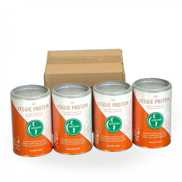 Sparpack -20%: Veggie Protein. Vegane BIO-Trinkpulver-Mischung, 4 x 150 g