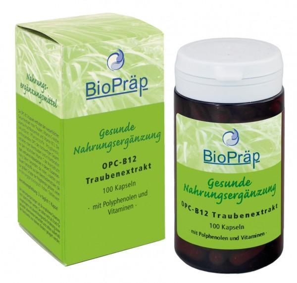 OPC - B12 Traubenextrakt Kapseln mit Polyphenolen und Vitaminen, 100 Stück