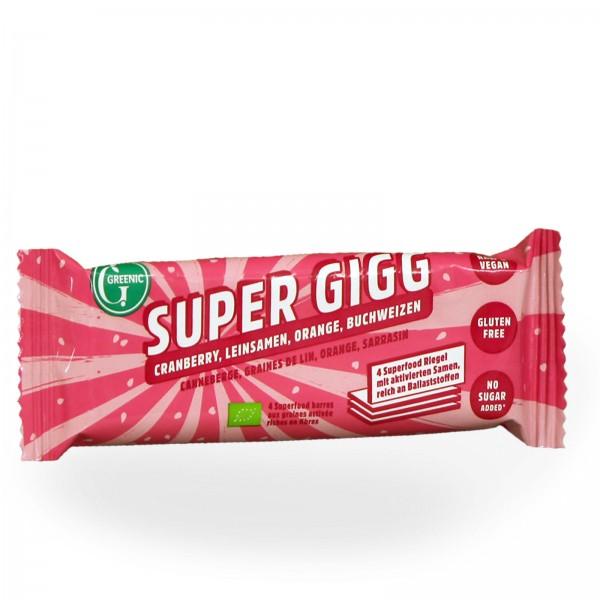 Sparpack: Bio-Super Gigg Cranberry-Leinsamen-Orange-Buchweizen, 20 Riegel