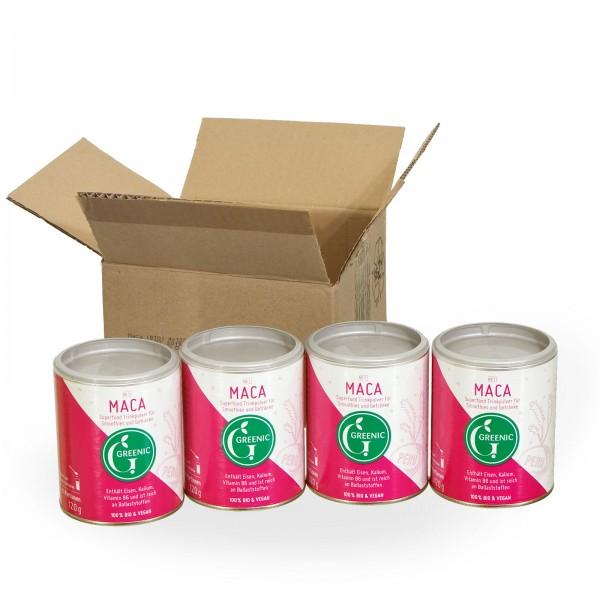 Sparpack -20%: Superfood Maca. Veganes BIO-Trinkpulver aus Peru, 4 x 120g