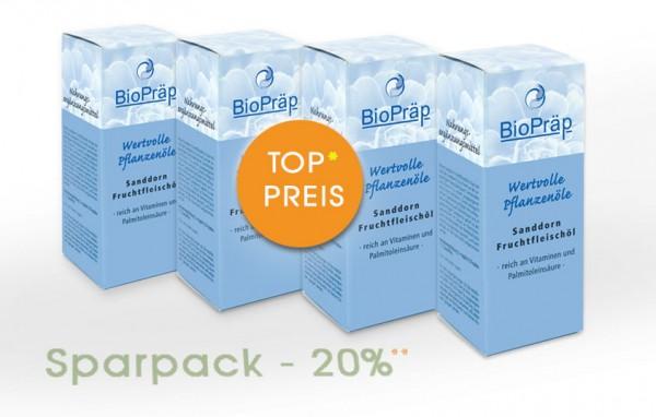 Sparpack -20%: reines Sanddorn Fruchtfleischöl, 4 x 50 mL.