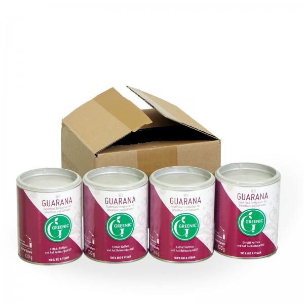 Sparpack -20%: Superfood Guarana. Veganes BIO-Trinkpulver 4 x 130 g