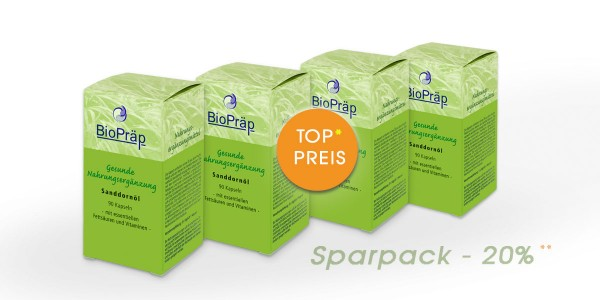 Sparpack -20%: Sanddorn-Öl Kapseln mit je 500 mg Sanddornöl, 4 x 90 Kapseln.
