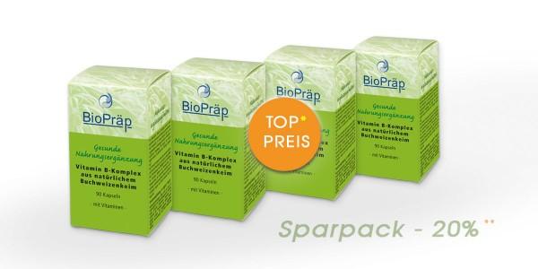 Sparpack -20%: Vitamin B-Komplex aus Buchweizenkeimlingen, 4 x 90 Kapseln.