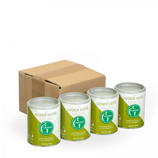Sparpack -20%: Superfood Grüner Kaffee. Veganes BIO-Trinkpulver 4 x 100 g