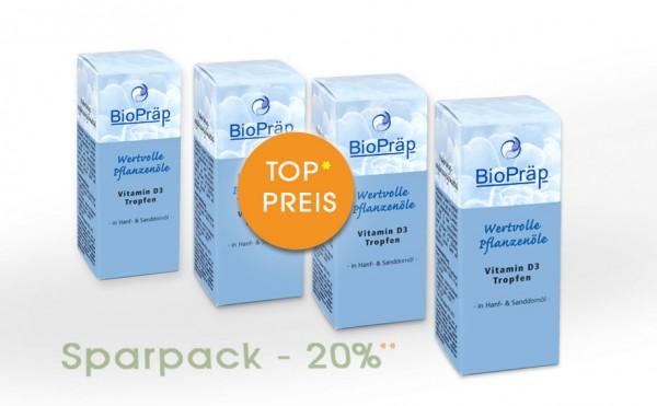 Sparpack -20%: Vitamin D3 Tropfen in Hanf- und Sanddornöl, 4 x 50 mL.